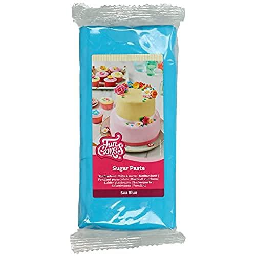FunCakes Pasta di Zucchero Sea Blue: facile da usare, liscia, flessibile, morbida e pieghevole, perfetta per decorare torte, halal, kosher e senza glutine - 1000 g