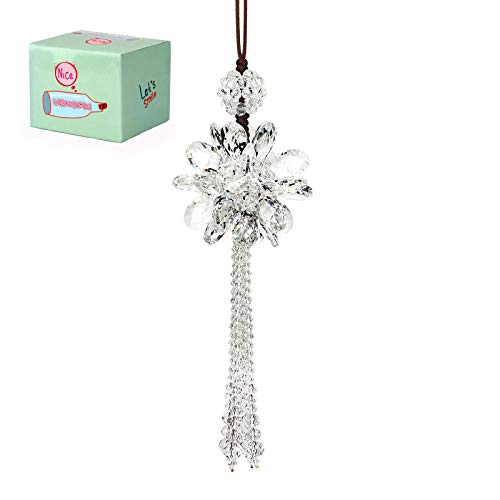 UZHOPM Crystal Flower Car Hanging Ornament Car Rear View Mirror Pendant Car Accessories (White)