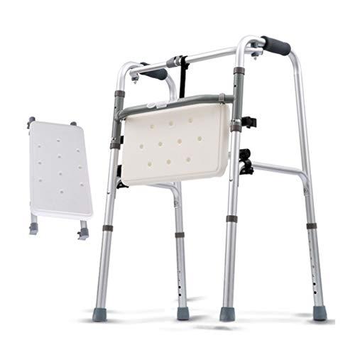 SXXDERTY-Walker Silla de Ducha Plegable, Andador geriátrico para Ancianos: Marco de Zimmer con Ayuda de Movilidad Ajustable en Altura, muleta con Asiento Acolchado