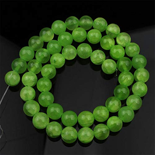 Caviland 4 6 8 10Mm Multicolor Cloud Jades Stone Beads Natural Round Loose Spacer Beads For Jewelry DIY Making Bracelet Accessories 15'' Lemon Green 10mm (approx 36pcs)