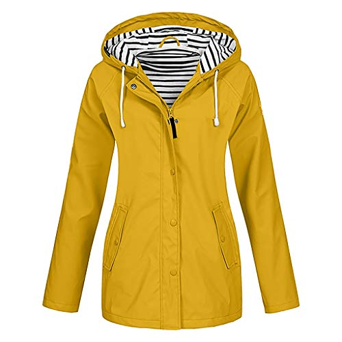 HDUFGJ Damen Parka mit Kapuze und Softshell Jacke Übergangsjacke Steppjacke Wasserfeste Winddicht Mantel Windbreaker Outdoor Zip Hoodie Regenjacke Freizeit XL(Gelb)