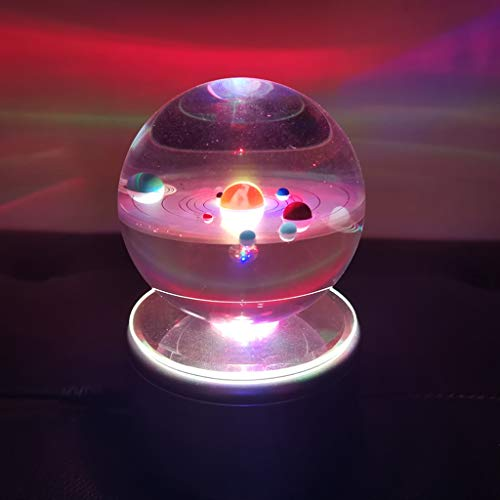 KEER 3D Crystal Ball with Sports Solar System Model and Rotating LED lamp Holder,Best Birthday Gift for Kids, Teacher of Physics, Classmates and Kids Gift(3.15 in) (Colorful Solar System)