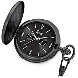 Speidel Classic Brushed Satin Black Engravable Pocket Watch with 14' Chain, Black Dial, Seconds Hand, Day and Date Sub-Dials