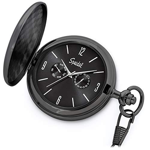 """Speidel Classic Brushed Satin Black Engravable Pocket Watch with 14"""" Chain, Black Dial, Seconds Hand, Day and Date Sub-Dials"""