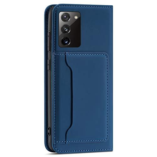 Riyeri Funda de piel con tapa para Samsung Galaxy S20 FE, ultrafina, con tarjetero, función atril, cierre magnético, compatible con Samsung S20 FE 5G, color azul