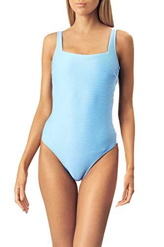 Heidi Klein Women's Textured Over The Shoulder One Piece Swimsuit Light Blue M