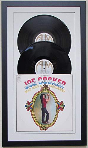 Record Album Double (2) Vinyl LP Frame Display Featuring White Matting Juke Box Style Design (Black Frame)