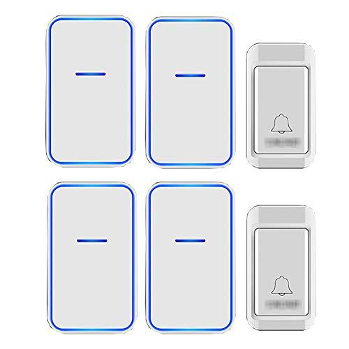 Geen batterijen nodig Draadloze deurbel, waterdichte draadloze plug-in deurbellen met 38 ringtones 3 niveaus volume en flitser (2 drukknop + 4 ontvanger),White