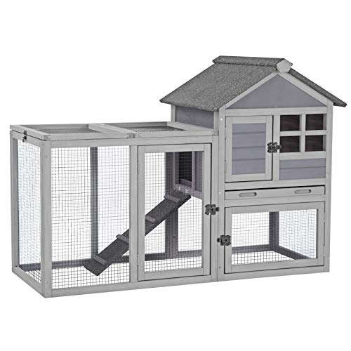 """Rabbit Hutch Indoor Bunny Cage Outdoor with Run,Guinea Pig House Pull Out Upper Tray (51.6"""" L x 25.2"""" W x 36.2"""" H, Grey-1 Set)"""