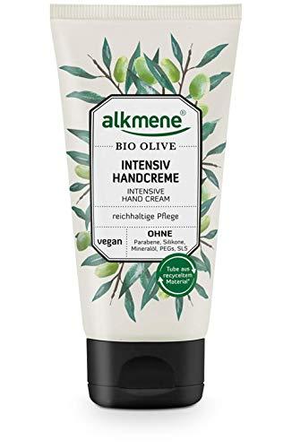alkmene Handcreme mit Bio Olive - Intensiv Creme für sehr trockene Hände - vegane Olivenöl Intensivcreme ohne Silikone, Parabene, Mineralöl, PEGs, SLS & SLES - Hautpflege (1x 75 ml)