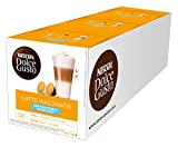 NESCAFÉ Dolce Gusto Latte Macchiato ungesüßt, 48 Kaffeekapseln, Ohne zugesetzten Zucker, Espresso, 3-Schichten -Köstlichkeit aus feinem Milchschaum, Aromaversiegelte Kapseln, 3er Pack (3 x 16 Kapseln)