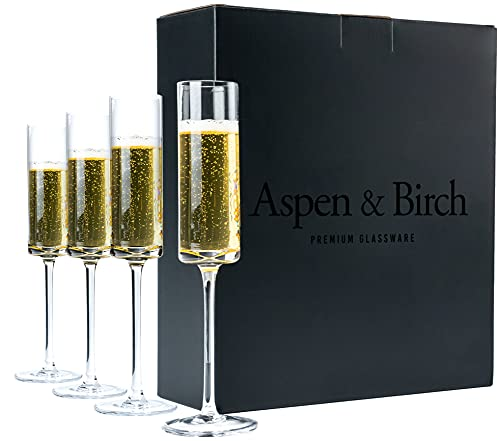 Aspen & Birch - Modern Champagne Flutes Set of 4 - Champagne Glasses - Mimosa Glasses, Premium Crystal Stemware, Clear, 6 oz, Hand Blown Glass Champagne Flutes - Hand Crafted by Artisans