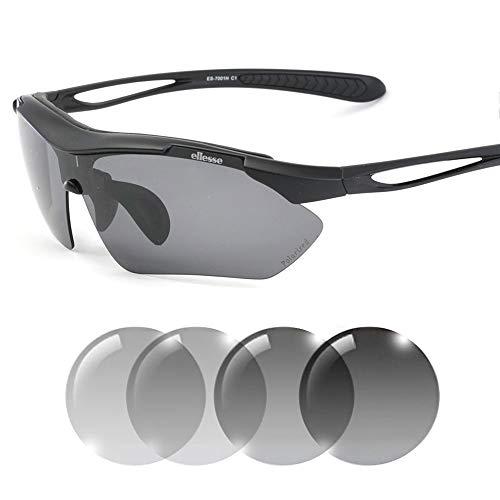 偏光調光スポーツサングラス UV99.9%カット アジアンフィットモデル セミハードケース付属