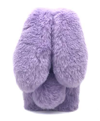Fundas Huawei Mate 20 Lite Conejo Peludo Purpura, Fundas Huawei Mate 20 Lite Mullido Pom Pom, Rhinestone de Bling Velloso Pelo de Conejo Fundas para Huawei Mate 20 Lite 3D de Conejito Carcasas