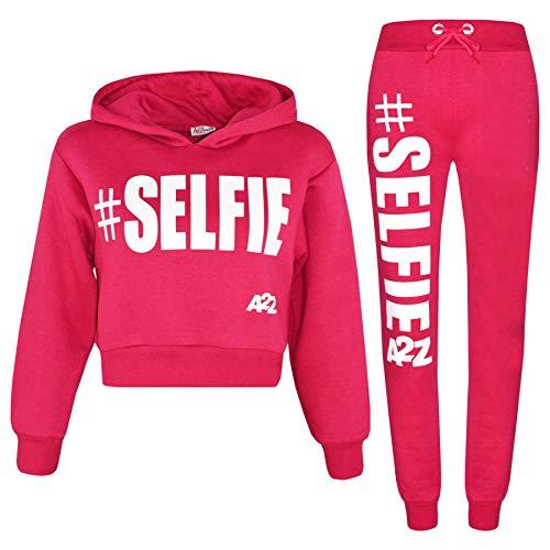 Chándal para niñas con capucha #Selfie con capucha y traje de Jog de 5-13 años - rosa - 7-8 años