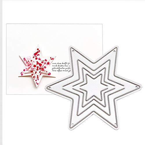 Qintaiourty Stanzschablone, Weihnachten Sterne Metall Stanzformen Schablone Scrapbooking DIY Album Stempel Papier Karte Prägung