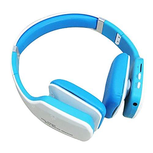 Drahtloser Bluetooth Sport-Kopfhörer, Kopf-faltender Subwoofer-beweglicher Computer-Steckkarte-Musik-Kopfhörer, Rosa, Blau (Color : Blue)