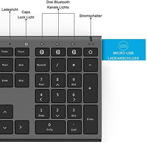 Jelly Comb Kabellose Tastatur mit 3 Bluetooth Kanal, Wiederaufladbare Bluetooth Tastatur, Full-Size QWERTZ Funktastatur für Laptop/PC/iPad/Handy, Windows/Mac OS/Android, Schwarz und Grau