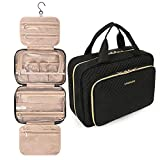 BAGSMART Toiletry Bag Hanging Travel Makeup Organizer with TSA Approved Transparent Cosmetic Bag Makeup Bag for Full Sized Toiletries, Large-Black