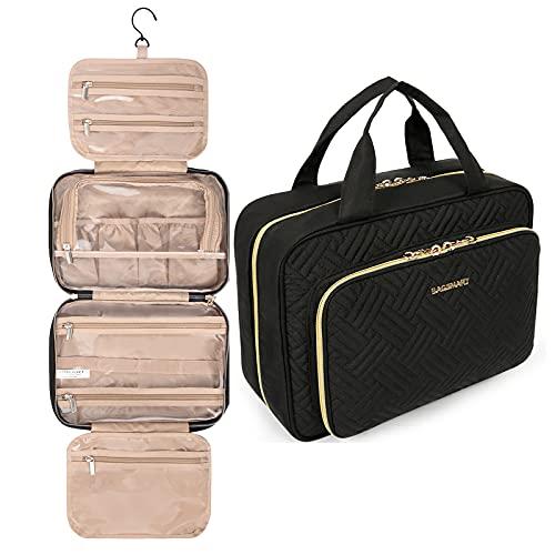 BAGSMART Bolsa de aseo colgante organizador de viaje con bolsa de cosméticos transparente aprobada por la TSA y bolsa de maquillaje desmontable para artículos de tocador de tamaño mediano, negro