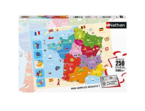 Nathan- Puzzle 250 pièces Carte de France Enfant