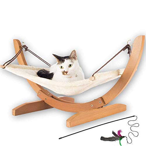 Vea Pets Luxury Cat Hammock - Large Soft Plush Bed (24x16in) Holds small to medium sized cat or small dog |  Anti Sway |  Attractive & robust perch |  Easy to assemble timber construction |  Prime cat toy