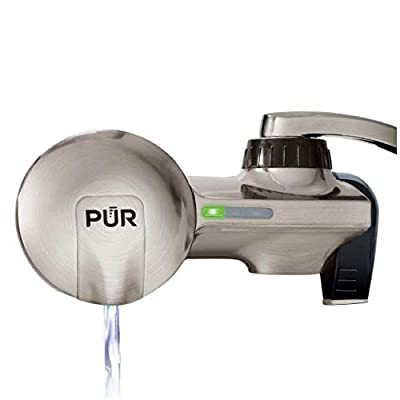 PUR PFM450S Faucet Mount Horizontal Water Filtration System with 1 MineralClear Filter, Stainless Steel Style