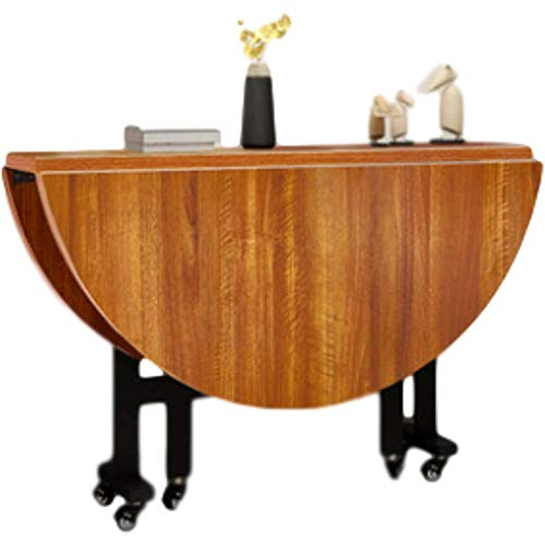 HMCL Mesa de comedor plegable móvil, 2-6 personas retráctil redonda multifunción mesa, con ruedas, para espacios pequeños, nogal claro