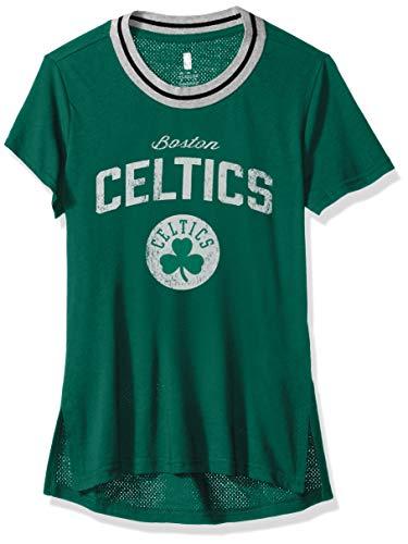 NBA by Outerstuff NBA Youth Girls Boston Celtics 'Winning Point' Short Sleeve Crew Neck Tee, Kelly Green, Youth Medium(10-12)