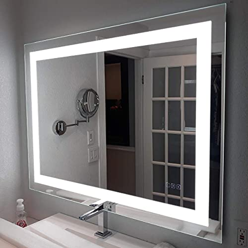 HAUSCHEN 36x48 inch LED Lighted Bathroom Wall Mounted Mirror