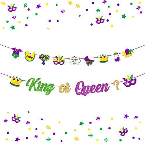 Mardi Gras Decorazioni Banner Re o Regina Genere Rivelare Forniture per feste Ghirlanda per New Orleans Baby Shower Camino Bunting Decorazione Esterna Interna