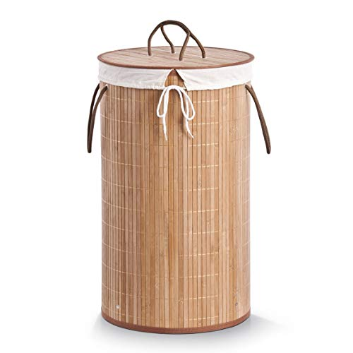 Zeller 13410 Wäschesammler, Bamboo ø 35 x 60 cm, natur