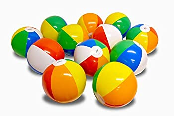 Coconut Float Rainbow Beach Ball 12 Pack - 12 Inch Inflatable Beach Balls for The Pool and Beach