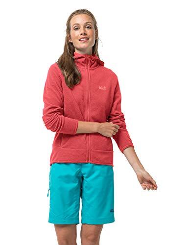 Jack Wolfskin Damen ARCO Jacket Women Warme Fleecejacke, Tulip red Stripes, XL