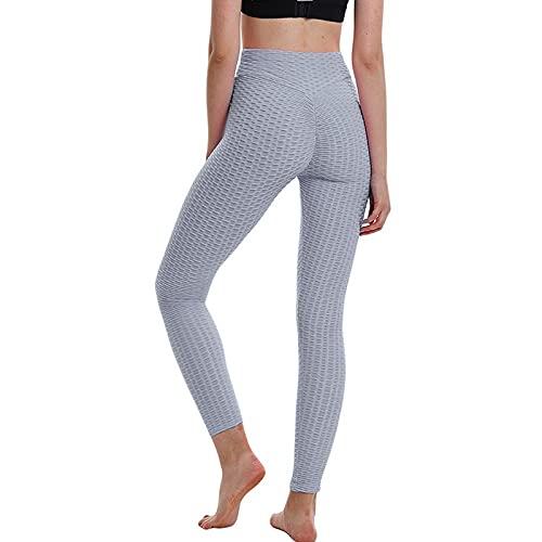 UFLF Leggings Deportivo Mujer Mallas Push Up Pantalones Alta Cintura Leggings para Yoga Fitness Running Ejercicios Pantalones Elástico Transpirable (Gris Claro, L)