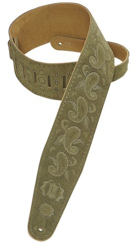"""Levy's Leathers 3"""" Genuine Suede Leather Guitar Strap with Paisley Pattern; Green (PMS44T03-GRN)"""