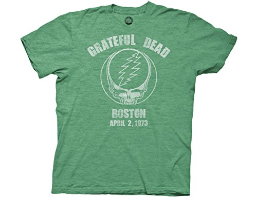 Ripple Junction Grateful Dead Boston 73 Adult T-Shirt Large Heather Green