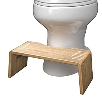 Squatty Potty Oslo Folding Bamboo Toilet Stool 7  Collapsible Brown