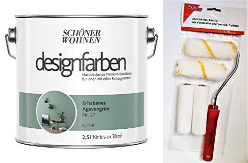 Schöner Wohnen designfarben feinmatte Wandfarbe für innen 2,5 Liter mit go/on Rollen-Set 5-tlg (Nr 27 Erhabenes Agavengrün)