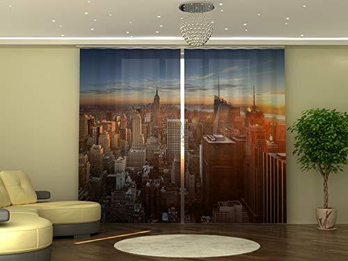 Wellmira - Tenda fotografica 245 x 290 cm, skyline, stampa fotografica, opaca, stampa con foto, tenda con motivo