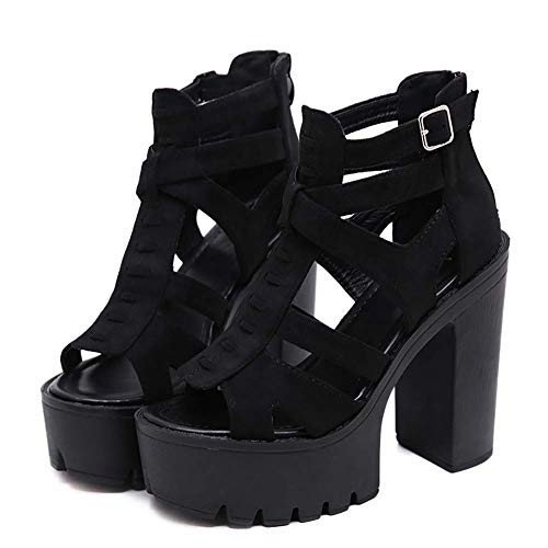 H-O Sandalias de Mujer Zapatos góticos, Sandalias para Mujeres con tacón 9 10 8 11 7 12 6 8.5, Gladiador de Ante Roma Zapatos de Mujer para Fiesta Tacones Altos Negro,37