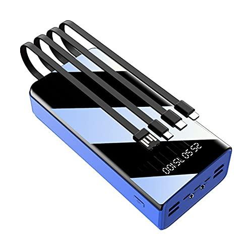LIMIAO Power Banks, 50000Mah Cargador Portátil Simple Elegante y Compacto Diseño de Carga Rápida, Carga 7 Dispositivos al mismo tiempo, Iphone, Android, Azul