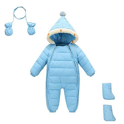 Mud Kingdom 3 Piece Baby Toddler Boy All in One Snowsuit Romper Winter 12-18 Months Light Blue
