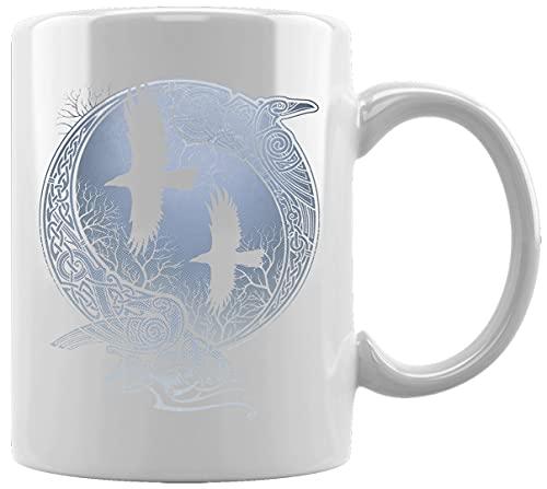 Odin Cuervos Mitología Símbolo Taza Blanca De Cerámica Hogar De Oficina De La Taza Del Agua Té Café White Ceramic Mug