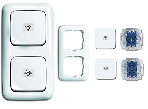 Busch Jäger 2-fach Lichtschalter Set, Lichtschalter Kombination - Klingel Symbol = permanent beleuchtet, Wippschaler An/Aus 2000/6 USGL - Rahmen - alpinweiß - Reflex SI - 2145 LI