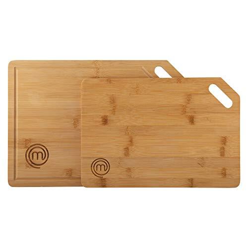 MasterChef 525523 Set de 2 Tablas bambú, para Preparar, Cortar, trocear y Servir, Dimensiones: 38,5 x 27,5 cm / 34 x 23,5 cm