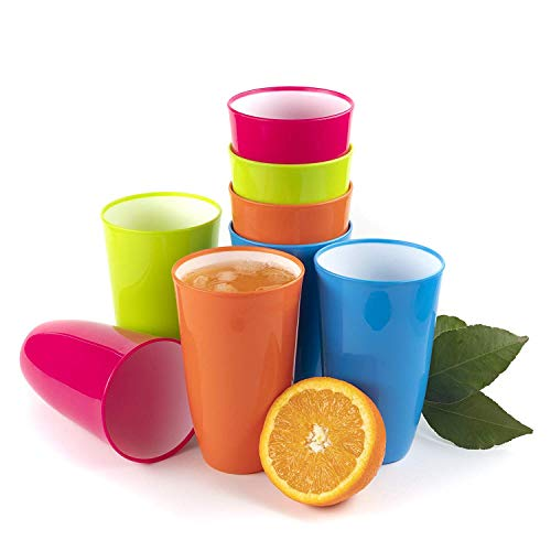 Plastic Cups tumblers Glasses Kids beakers Pint Unbreakable 0,65L - Set of 8
