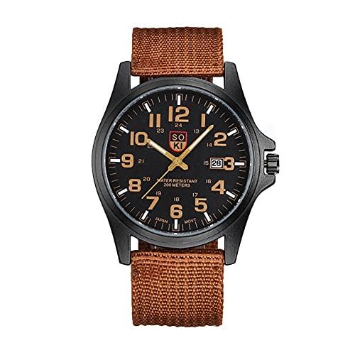 MUTYLRR Reloj de Hombre Reloj del Deporte Militar Correa Tejida de Nylon Calendario Hombres de la Moda de Cuarzo Reloj de Cuarzo Reloj de Pulsera de Negocios Reloj de Mujer (Color : B)