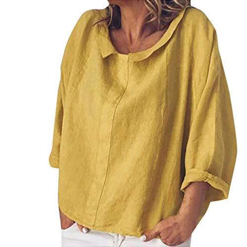 VEMOW Blusa Womens Casual O-Cuello 3/4 Manga Lino sólido Camiseta Suelta Pullover Top(P Amarillo,XL)
