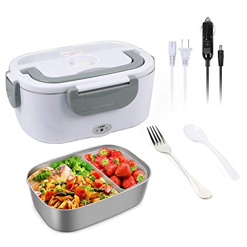 1.5L Electric Lunch Box Portable 12V & 110V Food Warmer,Removable Food-Grade Stainless Steel Food Container Food Warmer Heater with 1 Stainless Fork & 1 Spoon for Car,Office and Home